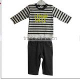 baby clothes high quality cheeap price baby boys cltohes set strip t shirt and solid color shorts 2pcs set