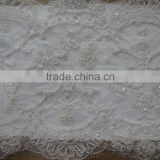 new fashion ladies Light ivory double side beaded french lace /embroidery french lace/tissue guipure lace/tissus perle de dubai/