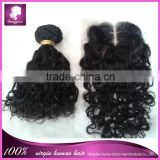 High quality Peruvian 100% virgin hair bundles with lace closure 4*4 swiss lace closure middle part