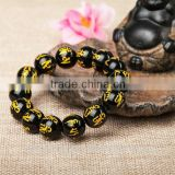 3 Size Natural Black Stripe Agate Round Beads Bracelet Smei-procious Stone Power Bracelet Fashion Bracelet Jewelry