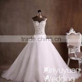 Xinyuyuan Ball gown taiwan Sexy real sample crystal beads for wedding gown Sweetheart wedding dress from china CYW-017