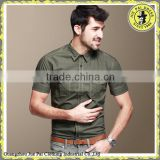 Men's 100%cotton solid color short sleeve slim army combat shirt