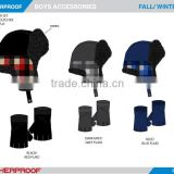 promotional customized boys/girls winter trapper hat gloves set