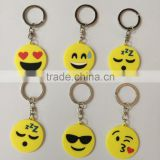Kissing Face Emoji Keychain - Hand Painted Face Blowing A Kiss Emoji Carved PVC Key Ring