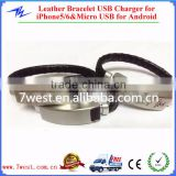 Braided Leather Bracelet USB Charging Cable Cord for iPhone5/5c/5s/6 and Micro USB cable for V8