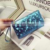 Women fashion cheap sequin coin bag ladies hand purse PU leather wallet                                                                                                         Supplier's Choice