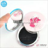 OEM factory custom printed decorative compact tinplate round makeup mirror for girls