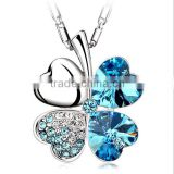 Silver four clover rhinestone blue fancy necklace design