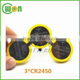 3*CR2450 CR2450 battery pack customized lithium button cell battery battery pack CR2450 3 cells in one pack