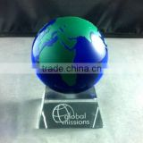 Blue Crystal Glass Globe Paperweight With Base OSM028