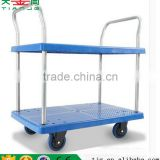 2 Tiers Platform Hand Trolley , TJG-PLA300-T2 Double hand trolley for warehouse, hand Cart Platform Cart