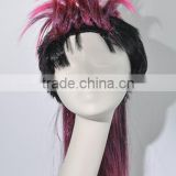Halloween Costume Clown Wig Synthetic Pink cock bang Hair Wig N213
