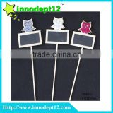 Owl garden decoration plant label ,garden stake / wooden blackboard stick