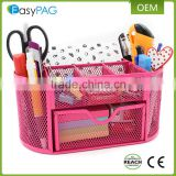 EasyPAG Desk Organizer Black Mesh Office School Desktop Supply Caddy with Slide Drawer Pink