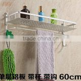 Space aluminum single double bathroom racks kitchen shelf with towel bar hook pendant(B-0276)
