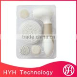 Electric Waterproof Facial Cleansing Brush and Exfoliating Brush with 4 Brush Heads