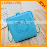 Sky Blue Embossment Lace Fashion Function Silicon coin bag Pouch Wallet Cellphone Mobile Silicon Cosmetic Bag Purse