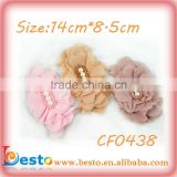 CF0438 2013 New handmade glass bead center shabby chiffon flower wholesale