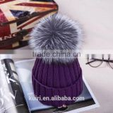 2016 Winter beanie Real Silver Fox Fur ball Knitting hat For Women Black Real Raccoon Fur ball Skullies