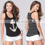 custom crop pullover sleeveless print white and black plus size sportswear casual U-neck tank tops in bulk