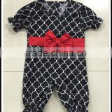 Hot sale black clover baby frock designs baby red knot romper suit sweet children romper bodysuit