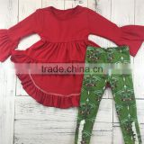 Factory supply well-fitting hi-lo dress and leggings baby christmas outfits