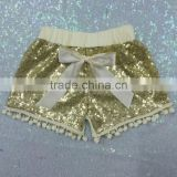 Girls gold sequin shorts gold pom pom shorts for baby girls in summer2016