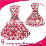 Dress Women casual dress Apparel China manufacturer summer printing flower casual dress for women elegant with black belt