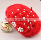 Women Winter Fur Hat Pearl Decoration Beret Hat