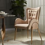 modern golden chrome legs fabric cushion dining chair for hotel