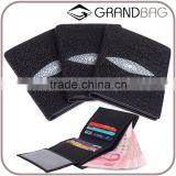 Grace Luxury Rare Black big pearl Manta ray skin leather RFID stingray skin leather Men or Women Short size Open Vertical Wallet