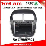 Wecaro Android 4.4.4 multimedia system in dash for citroen c4 car dvd player with gps android bluetooth