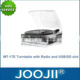 2015 Hot Selling 3 Speed Turntable With lift-lever & USB/SD Recording & Radio & Stereo Built-in speaker