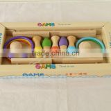 New fashion three in one wooden toy ring toss bowling fishing game