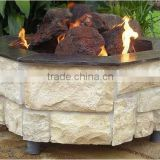 Garden Outdoor Octagonal Rock Stone Gas Fire Pit