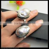 LFD-0013R ~ Wholesale For Women Freshwater Pearl Rings, Crystal Rhinestone Paved Pearl Druzy Ring Jewelry Adjustable Size Image