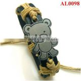 Girl's cute bracelet,genuine leather bracelet with little bear, stainless alloy bracelet in wax cord AL0098