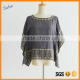 kaftan style dolman sleeve metallic yarn embroider short silk blouse