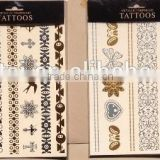 Fashionable body art painting tattoo stickers glitter Metal gold silver temporary flash tattoo Disposable indians tattoos tatoo