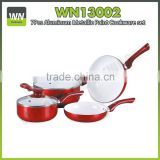 Nice aluminium cookware set honey cell powder coating cookware set with ceramic painting