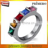 Womens CZ Diamond Rainbow Rhinestone Classic Engagement Bridal Designs Fashion Jewelry Ring