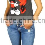 Mickey Mouse pattern printed Ringer Crop Top Women graphic t shirts