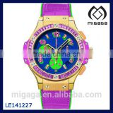 Fashion Colorful mix colors sport watch purple strap blue dial water resistant 10 ATM MIX COLOR SPORT AUTOMATIC WATCH