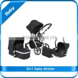 EN 1888 colorful AL frame air wheel 3in1 baby stroller with car seat and carrycot