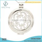 Stainless steel silver disc holder,crystal coin holder locket jewelry