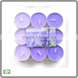 9pc pack of 4 hour scented tea light candle/tea light decorative candles/colored tea light candles