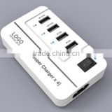 2015 NEW 20W 5V4A 4 Ports High Speed Desktop USB Wall and Travel Charger with Power IQ Technology(White)