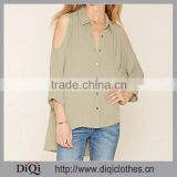 OEM Service Chic Lady Woven Open-Shoulder Buttoned Front Cuffed 3/4 Sleeves , High-Low Hem ,Tiered-Slit BacK women blouse                                                                                                         Supplier's Choice