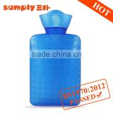 High quality small baby PVC warm water bottle houndstooth blue Christmas gift