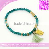 Duoyun Semi-Precious Stone Elastic Small Tassel And Owl Bracelet For Man Or Women Lovers
